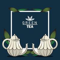 affiche de lettrage de thé vert avec des théières dans un cadre carré