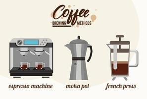trois méthodes de préparation du café ensemble d'icônes vecteur