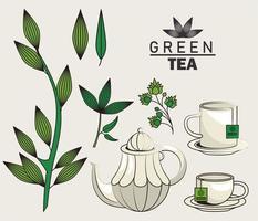 affiche de lettrage de thé vert avec des ustensiles et des feuilles