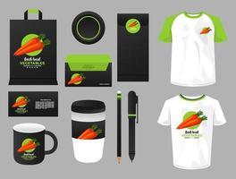 lot d'éléments de maquette de légumes carottes branding vecteur
