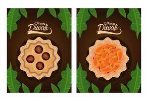 bonne fête de diwali avec plats et lettrage sur fond marron vecteur