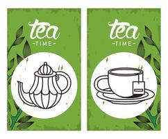 affiche de lettrage de lheure du thé avec théière et tasse dans des cadres carrés