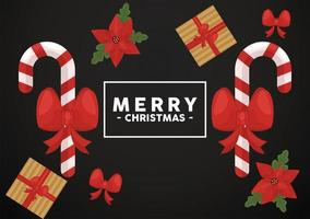 Joyeux Noël lettrage dans un cadre carré avec des cannes et des cadeaux