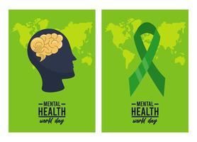 campagne de la journée mondiale de la santé mentale avec profil et ruban vecteur