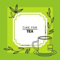 temps pour affiche de lettrage de thé avec tasse et feuilles cadre carré