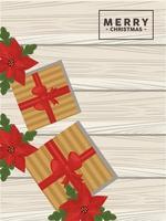 Carte de joyeux Noël avec des cadeaux dorés et des fleurs sur fond de bois