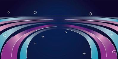 sentier de lumière colorée sur fond violet et bleu vecteur