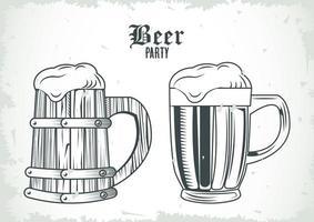 bières bocaux boissons dessinés icônes isolées