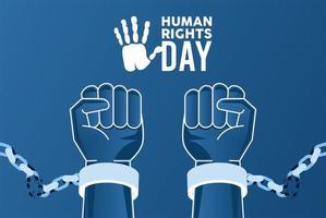 affiche de la journée des droits de lhomme avec les mains brisant les menottes vecteur