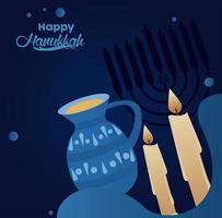 bonne fête de hanoukka avec des bougies et une théière vecteur