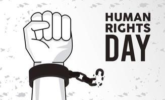 affiche de la journée des droits de lhomme avec des menottes vecteur