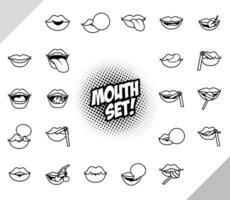 lot de vingt-deux icônes de style ligne bouches pop art
