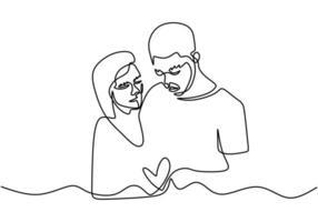 dessin d'une ligne continue. couple aimant femme et homme amoureux. illustration vectorielle, style minimalisme. vecteur