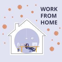 travail de la bannière de dessin animé plat à la maison. protection de l'effet de l'épidémie de pandémie du coronavirus covid-19 2019-ncov.