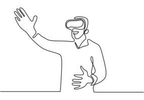 un dessin au trait d'un homme à l'aide de lunettes virtuelles, concept de technologie vr moderne. Croquis dessiné main continue lineart, style de minimalisme illustration vectorielle. vecteur