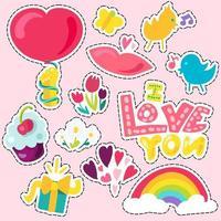 patch d'amour romantique de vecteur en doodle