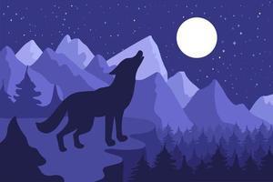 loup sauvage hurlant sur la colline vecteur