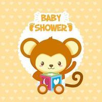 carte de douche de bébé avec singe mignon vecteur
