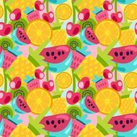 motifs de fruits d'été dans un style de dessin animé lumineux