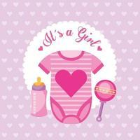 carte de douche de bébé avec des vêtements de bébé mignon vecteur