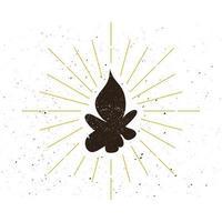 logo de silhouette de feu rétro vecteur