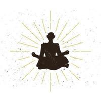 logo silhouette ermite rétro vecteur