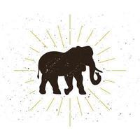 logo silhouette éléphant rétro vecteur