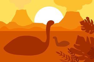 dinosaures flottants près des volcans vecteur