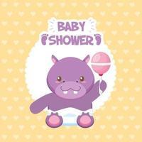 carte de douche de bébé avec hippopotame mignon vecteur