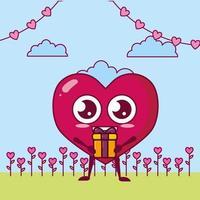 conception de la saint-valentin avec caractère de coeur vecteur