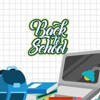 affiche de retour à l & # 39; école avec ordinateur portable et fournitures vecteur