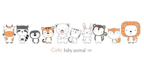 style dessiné à la main. dessin animé bébé animaux vecteur