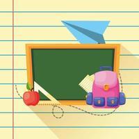 affiche de retour à l & # 39; école avec tableau et fournitures vecteur