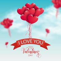 Joyeuse saint Valentin. bouquet de ballons à air rouge volant dans le ciel.