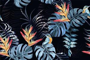 heliconia modèle sans couture et oiseau à l'aquarelle