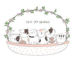 dessin animé mignon bébé chats avec un panier de fleurs. style dessiné à la main. vecteur