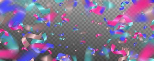 confettis lumineux colorés isolés sur fond transparent. abstrait avec de nombreux petits morceaux de confettis tombant.