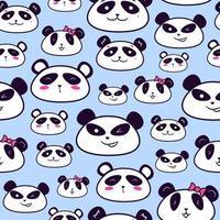 modèle sans couture de têtes de panda pour vêtements pour enfants vecteur