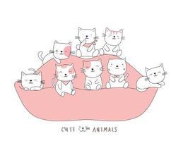 dessin animé mignon bébés chat sur le canapé. style dessiné à la main. vecteur