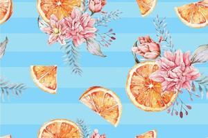 modèle sans couture de mandarines vecteur