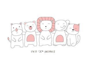 style dessiné à la main. dessin animé esquisse la posture mignonne bébé animaux vecteur