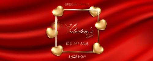 bannière de vente bonne saint valentin sur fond de tissu de soie vecteur