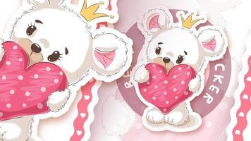 ours avec coeur dans un style autocollant