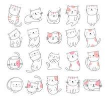 dessin animé animal chat mignon blanc style dessiné à la main