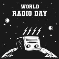 journée mondiale de la radio avec concept de design de crâne vecteur