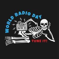 journée mondiale de la radio avec concept de design de crâne