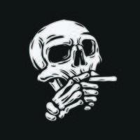 crâne fumer cigarette vecteur