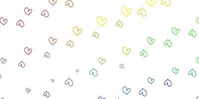 texture de vecteur multicolore léger avec de beaux coeurs.