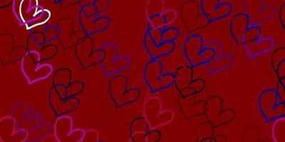toile de fond de vecteur bleu clair, rouge avec des coeurs doux.