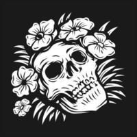 crâne de dessin à la main entouré de fleurs roses